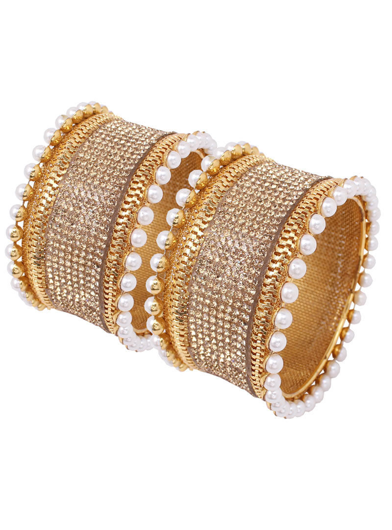 Golden Alloy Austrian Diamonds Bangle 89166