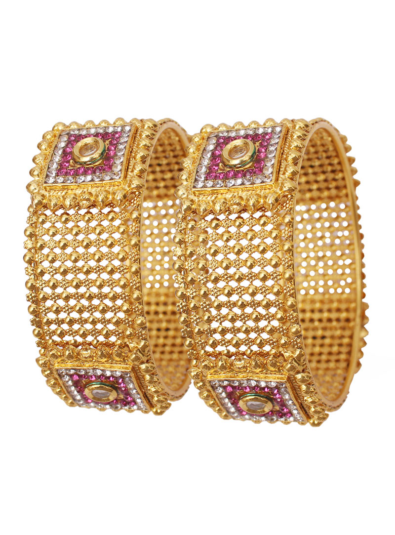 Pink Alloy Cubic Zirconia Bangle 89220