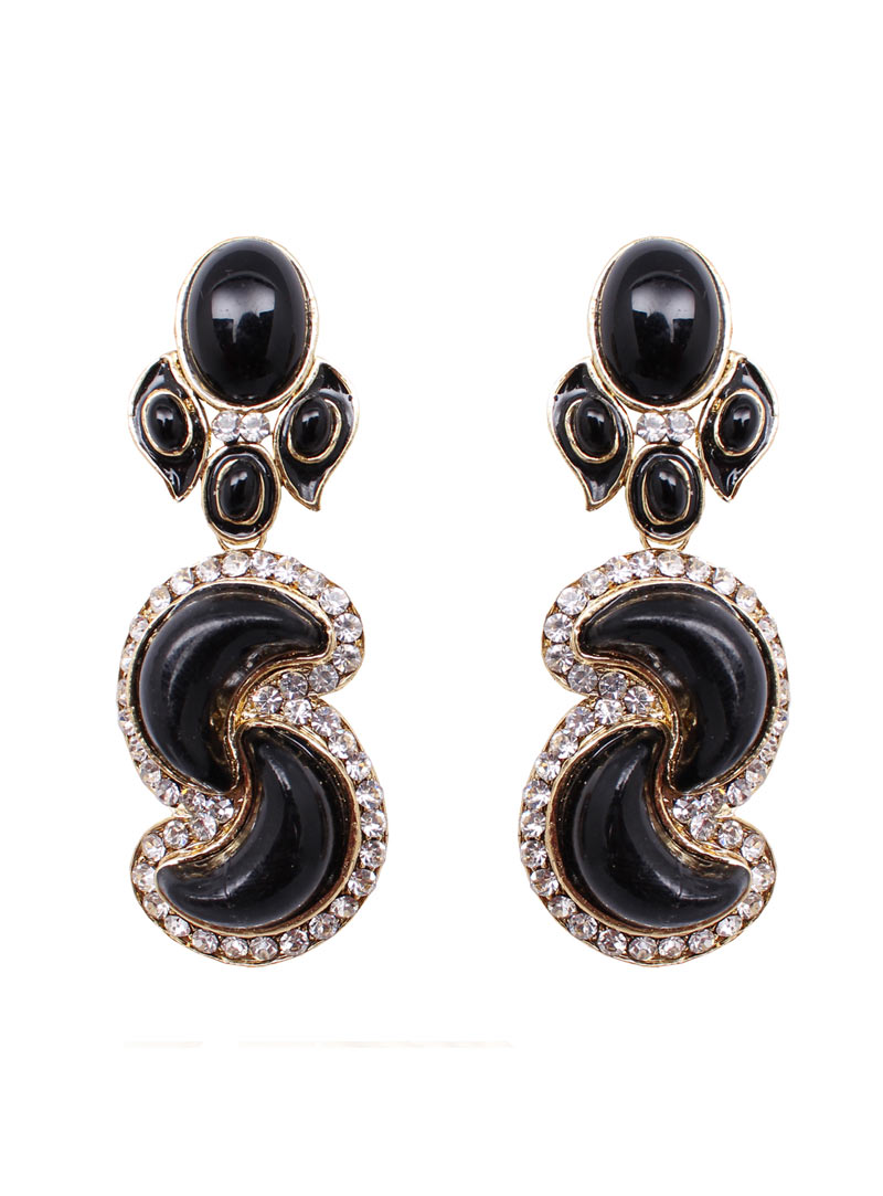 Black Alloy Austrian Diamonds Earrings 89230