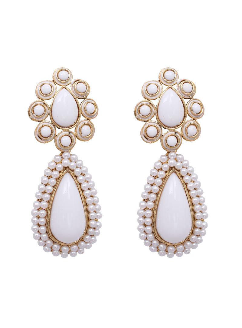 White Alloy Pearl Earrings 89233