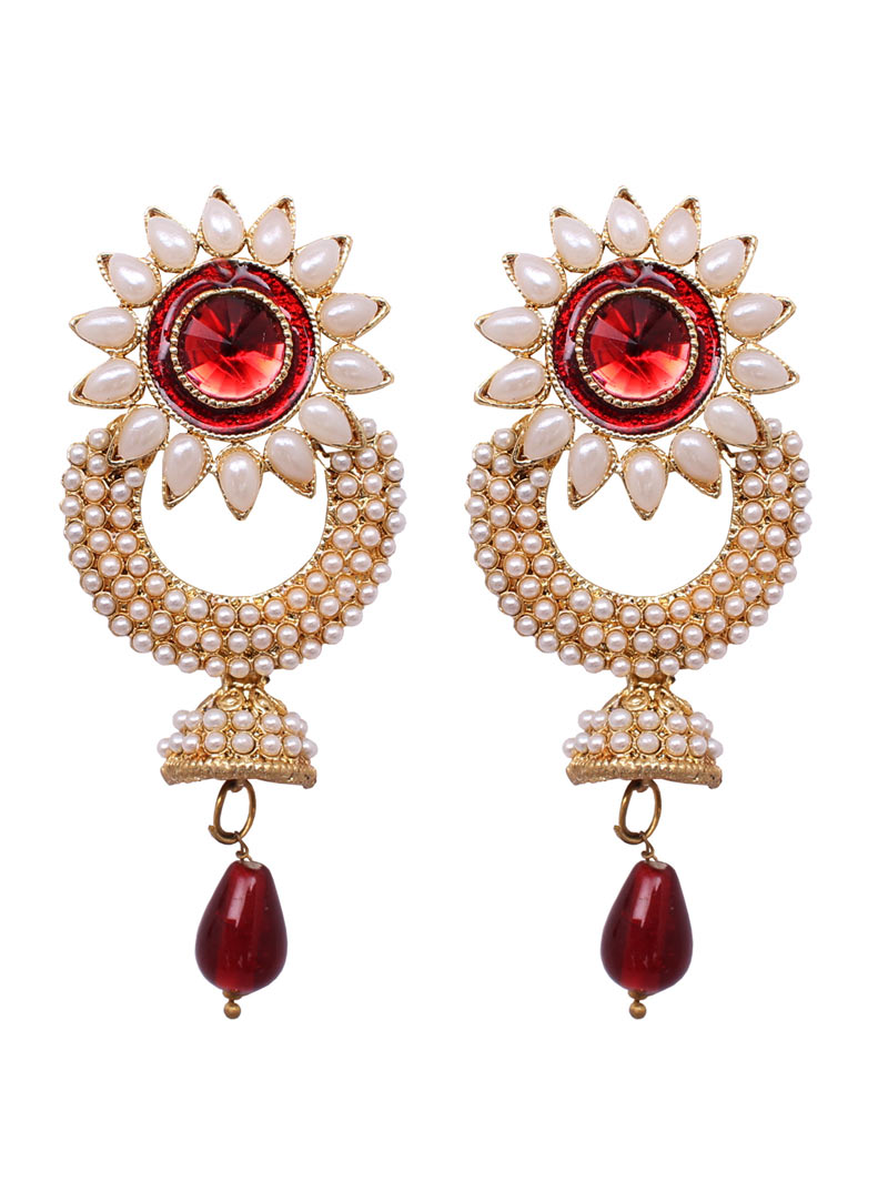 Red Alloy Pearl Earrings 89235