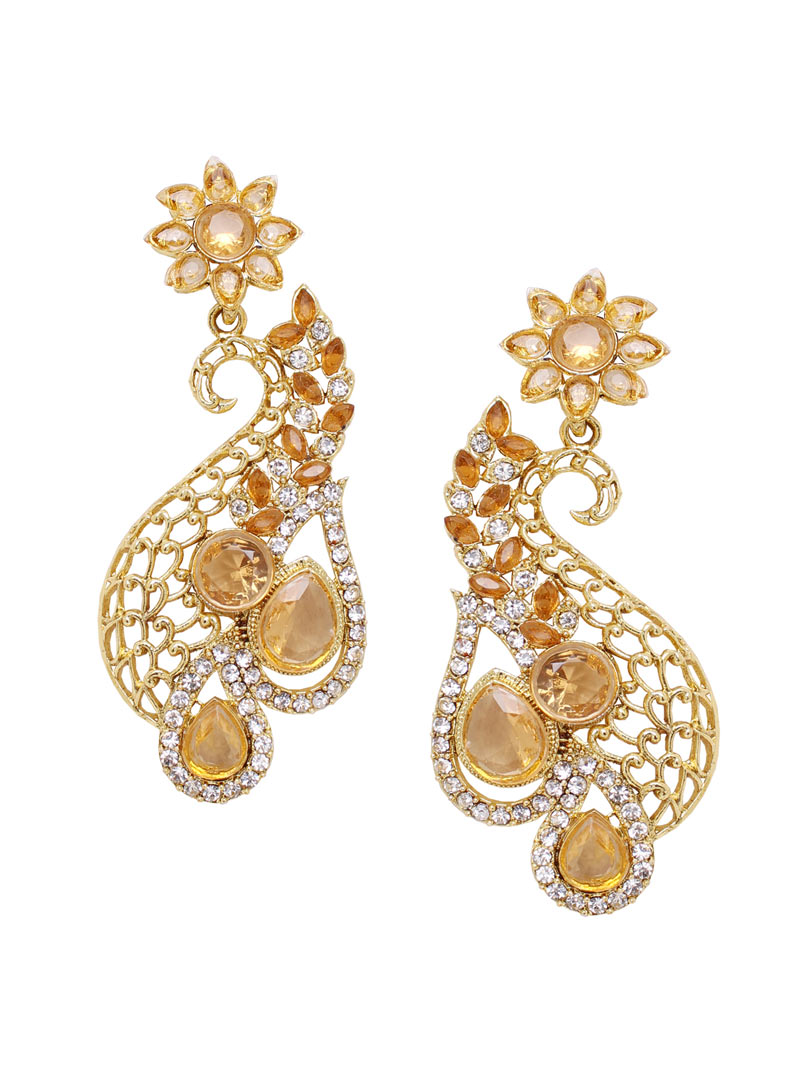 Golden Alloy Austrian Diamonds Earrings 89241