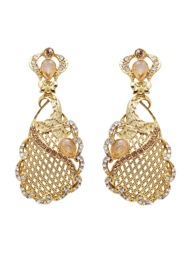 Golden Alloy Austrian Diamonds Earrings 89246