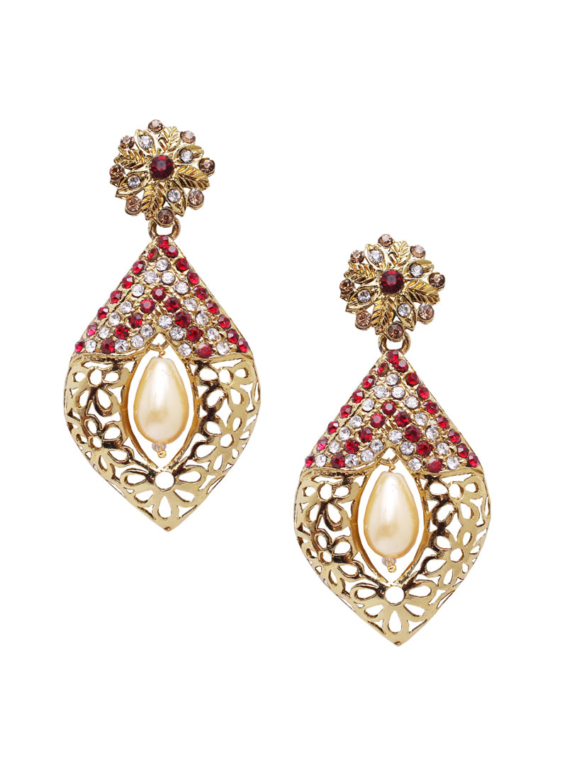 Pink Alloy Austrian Diamonds Earrings 89248