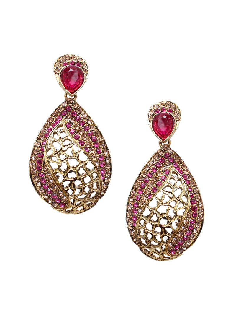 Pink Alloy Austrian Diamonds Earrings 89251