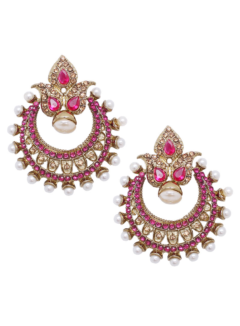 Pink Alloy Austrian Diamonds Earrings 89252