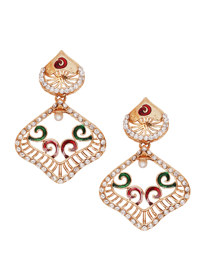 White Alloy Austrian Diamond Earrings 128420