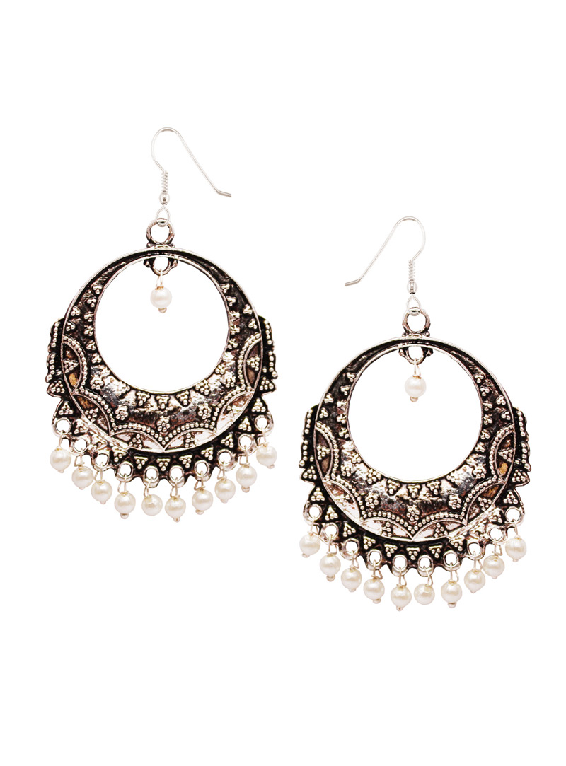 Silver Alloy Oxidised Antique Earrings 128458