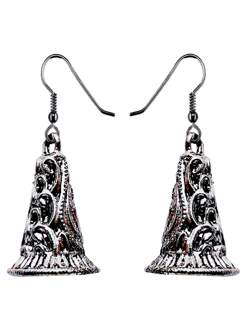Silver Alloy Oxidised Antique Earrings 128461