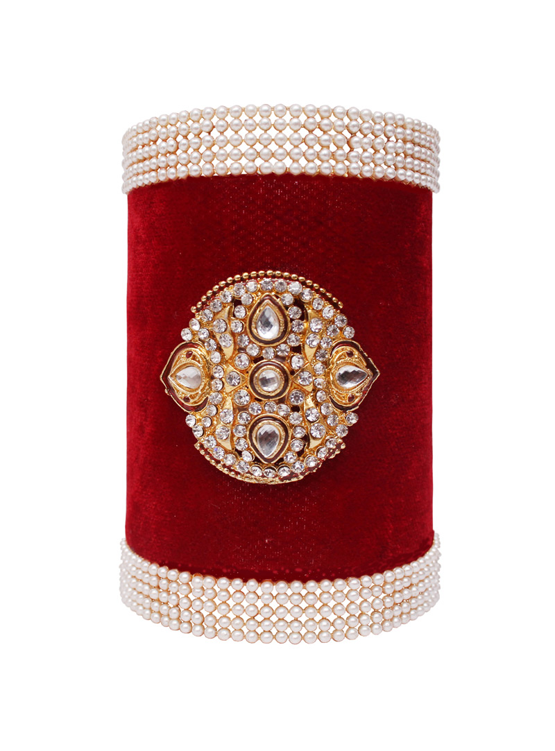 Red Alloy Austrian Diamond Kada 128470