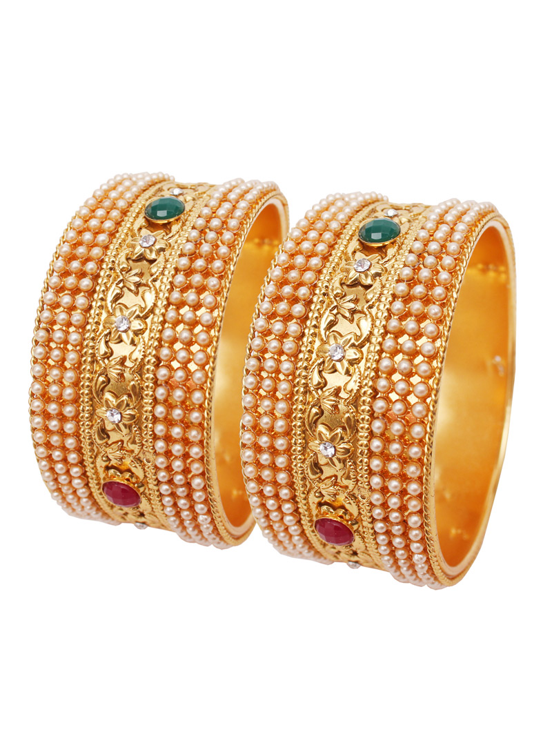 Golden Alloy Kundan Bangle 128472