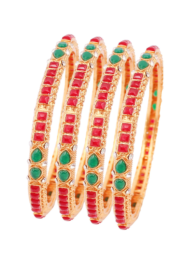 Pink Alloy Kundan  Bangle 128485