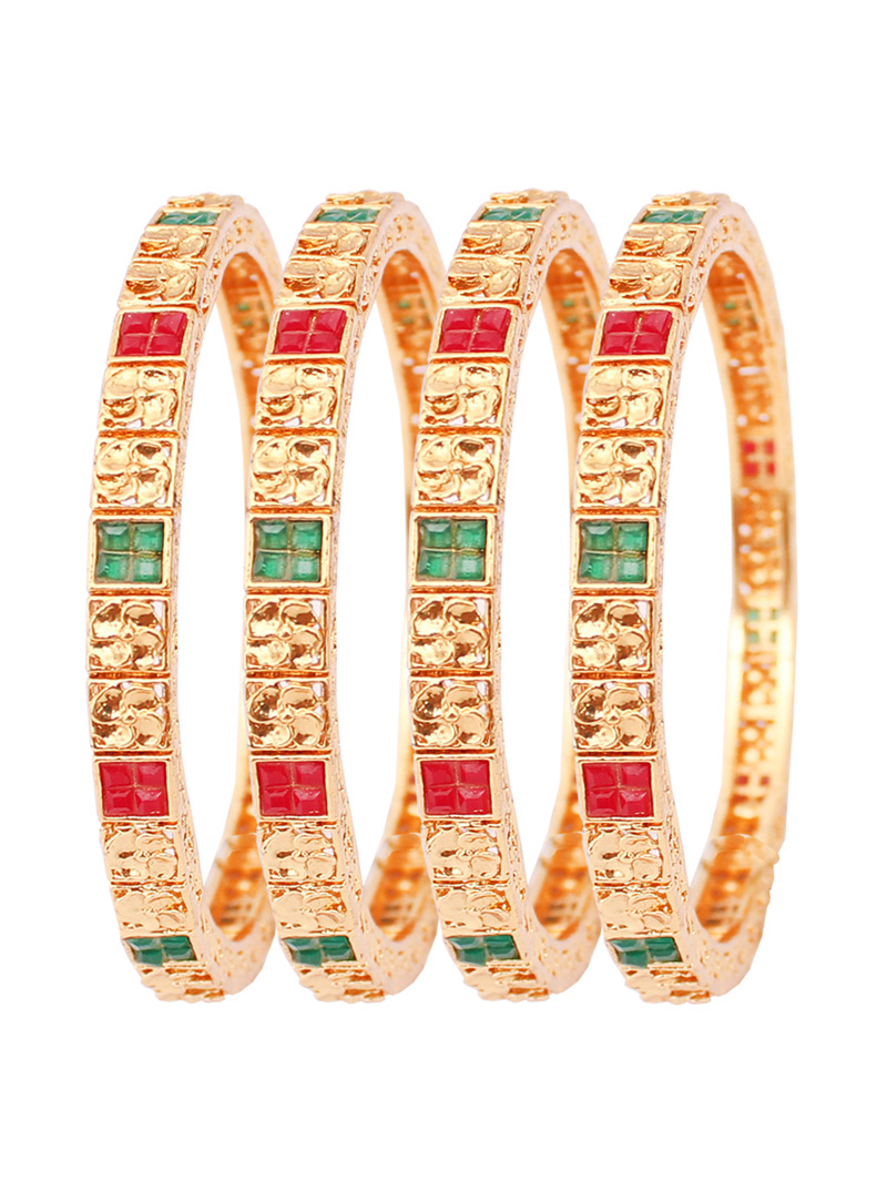 Golden Alloy Kundan  Bangle 128486