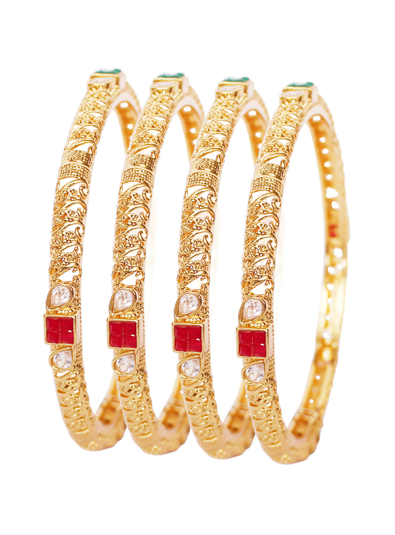 Golden Alloy American Diamond Bangle 128492