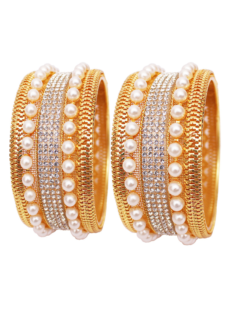 Golden Alloy Austrian Diamond Bangle 128497