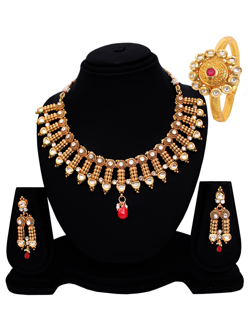 Golden Copper Kundan Set With Earrings 128522