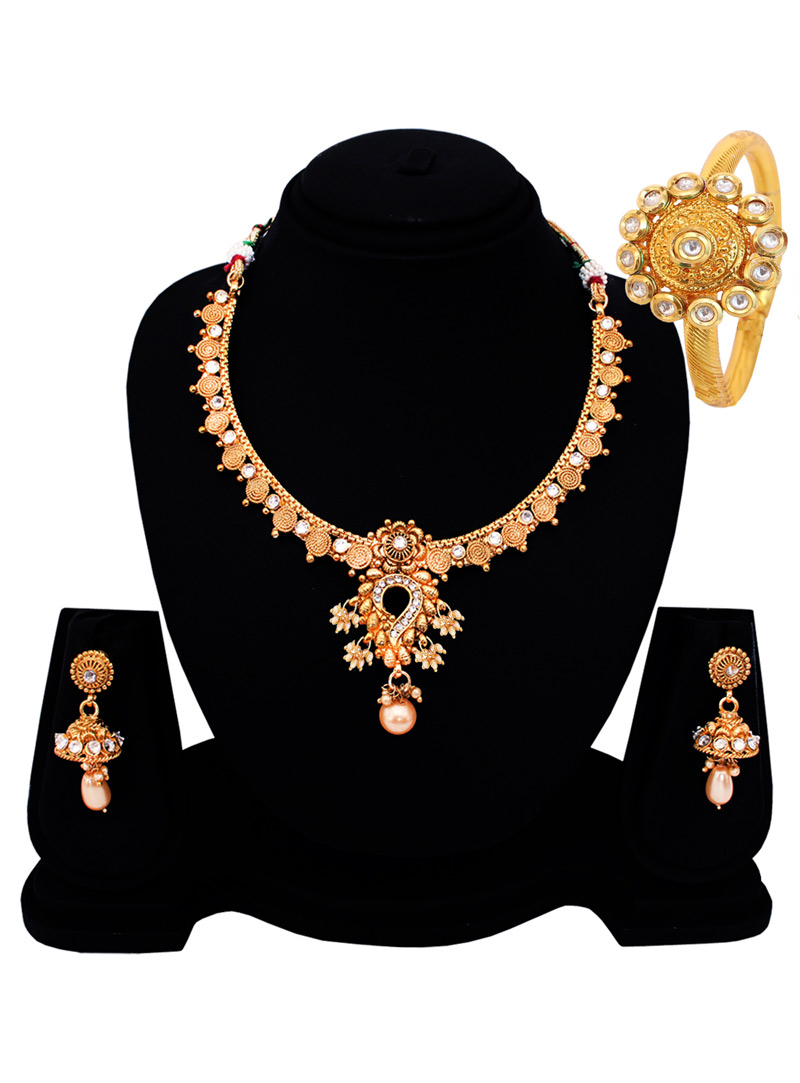 Golden Copper American Diamond Set With Earrings 128532