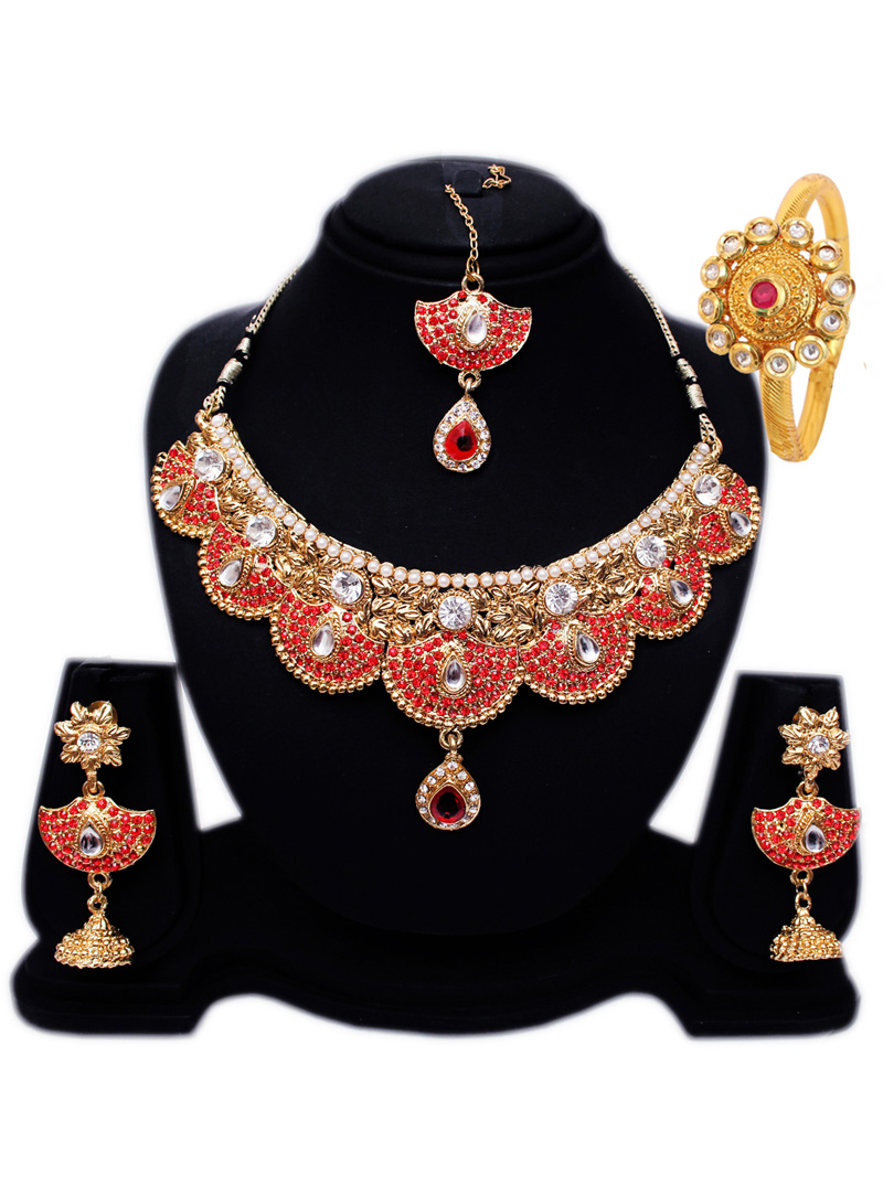 Red Alloy Austrian Diamond Set With Earrings and Maang Tikka 128562