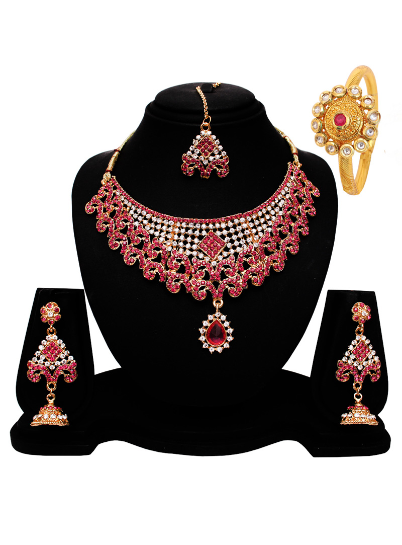 Pink Alloy Austrian Diamond Set With Earrings and Maang Tikka 128565