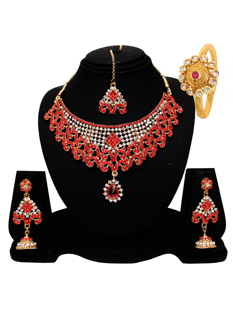 Red Alloy Austrian Diamond Set With Earrings and Maang Tikka 128567