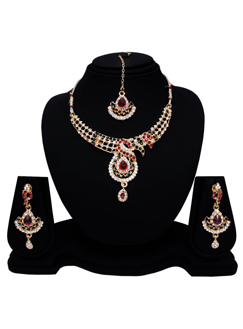 Red Alloy Austrian Diamond Set With Earrings and Maang Tikka 128572