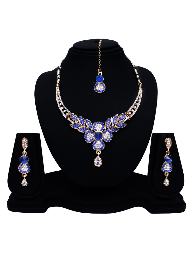 Blue Alloy Austrian Diamond Set With Earrings and Maang Tikka 128573