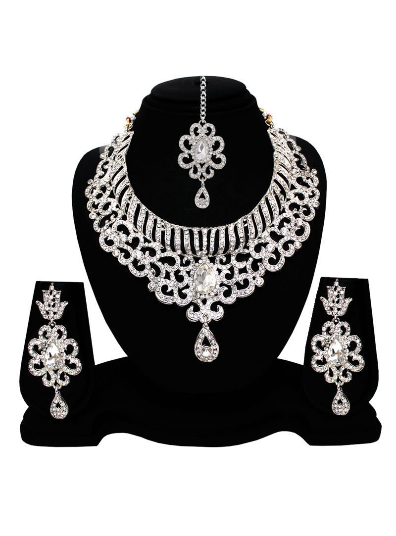 Silver Alloy American Diamond Set With Earrings and Maang Tikka 128579