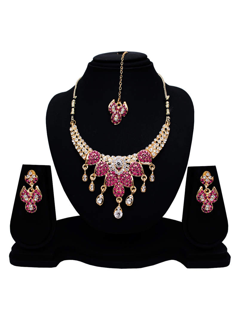 Pink Alloy Austrian Diamond Set With Earrings and Maang Tikka 128583