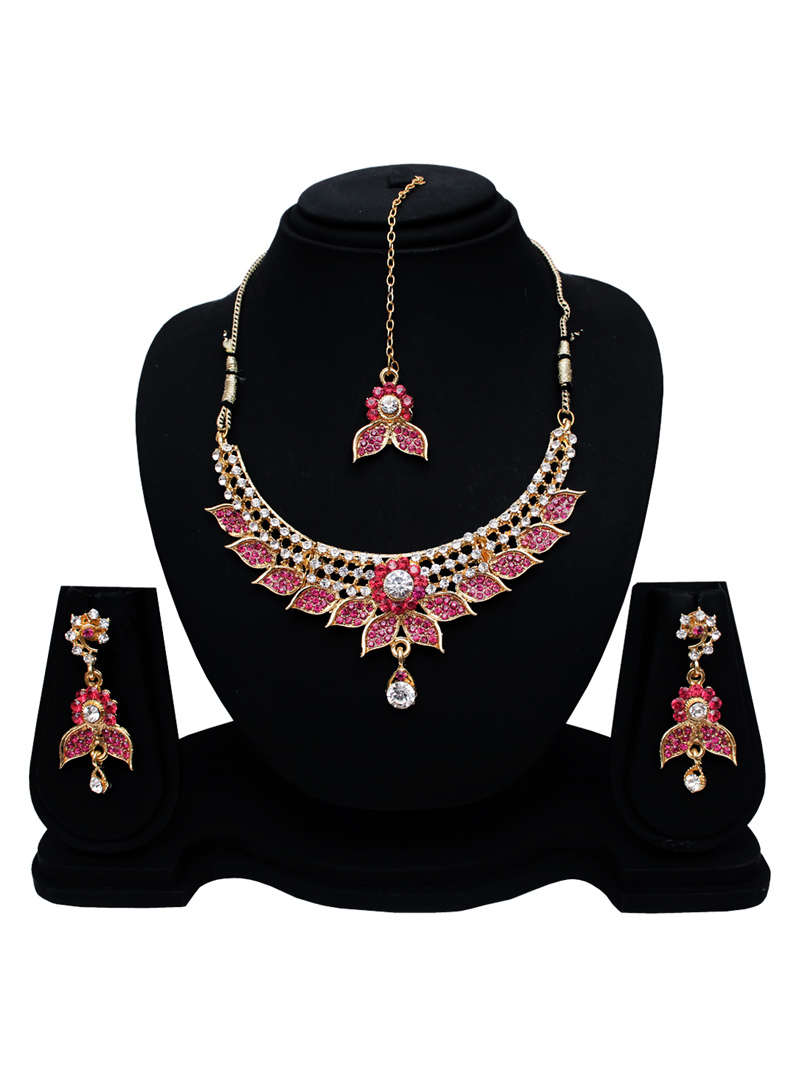 Pink Alloy Austrian Diamond Set With Earrings and Maang Tikka 128585