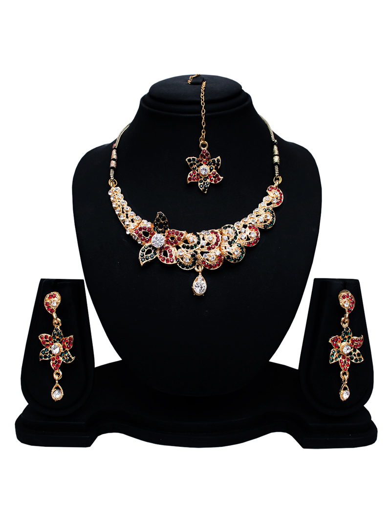 Red Alloy Austrian Diamond Set With Earrings and Maang Tikka 128594