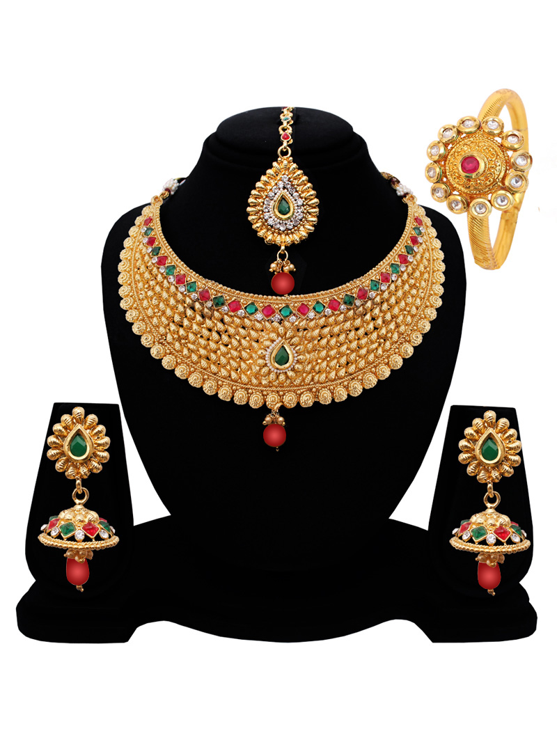 Golden Alloy Austrian Diamond Set With Earrings and Maang Tikka 128599