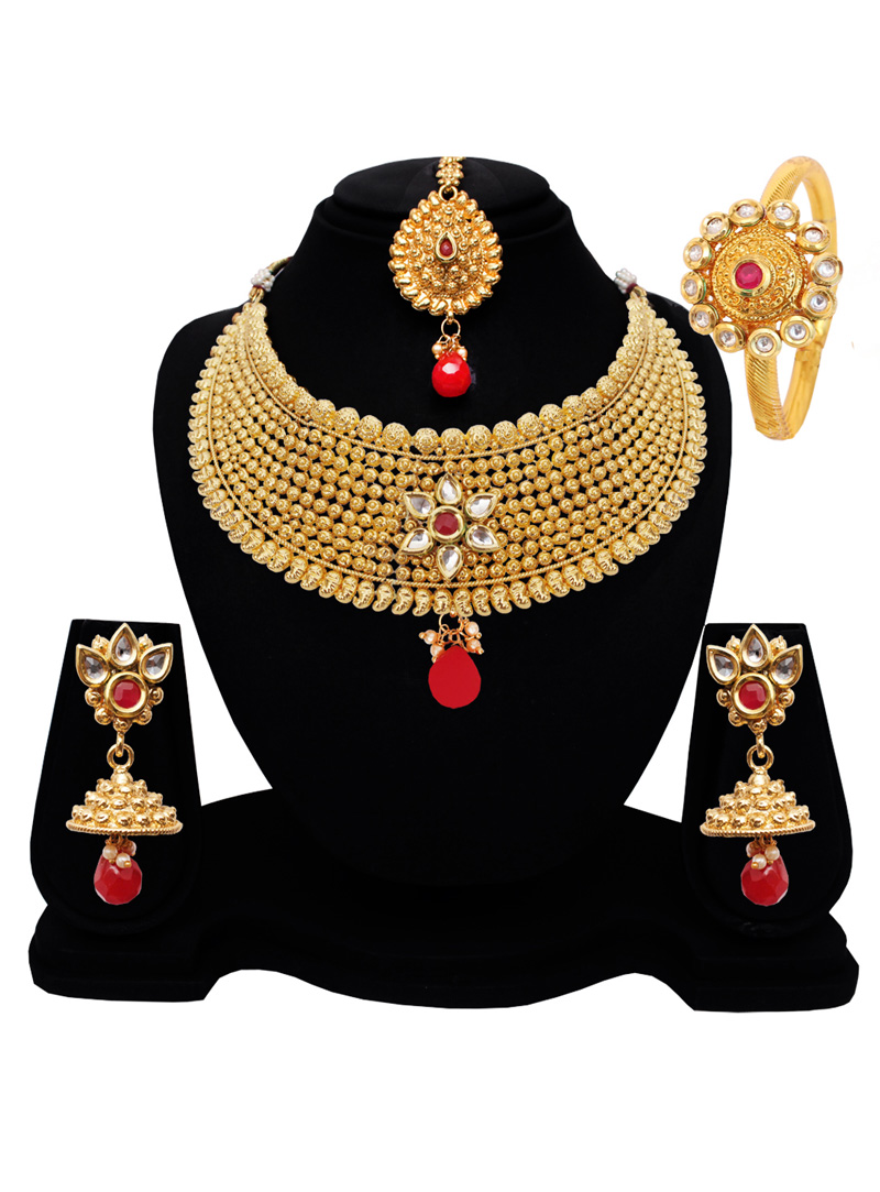 Golden Alloy Austrian Diamond Set With Earrings and Maang Tikka 128600