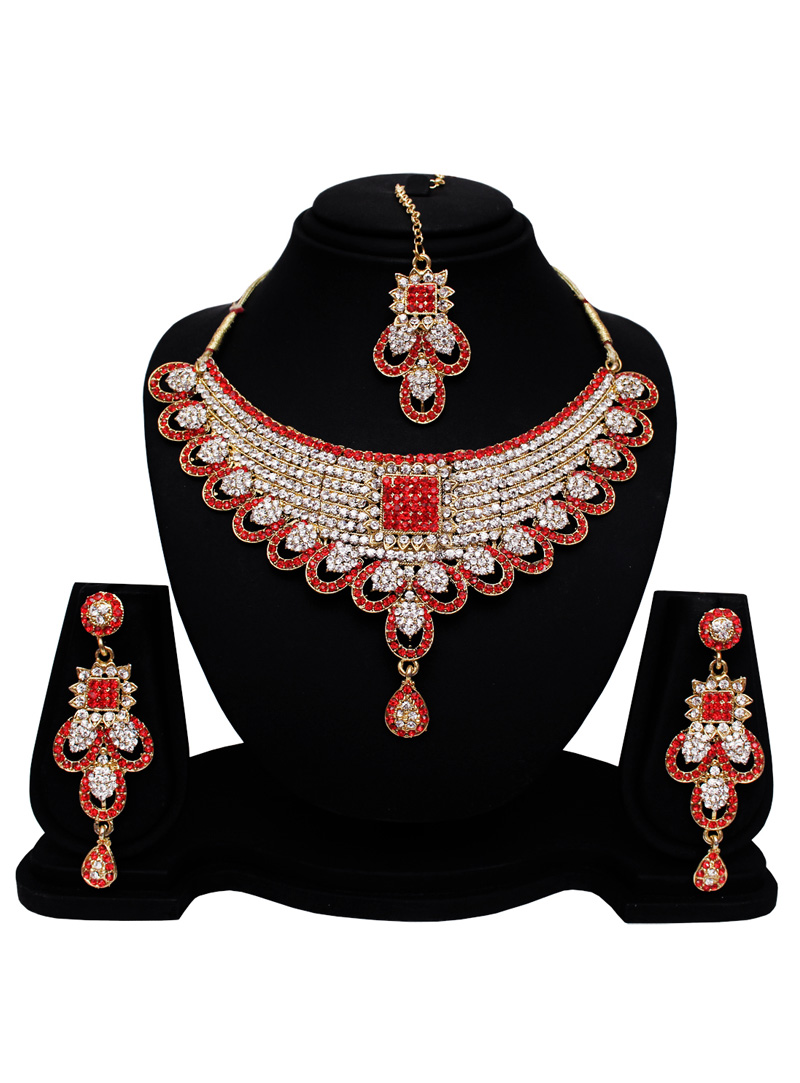 Red Alloy Austrian Diamond Set With Earrings and Maang Tikka 128604