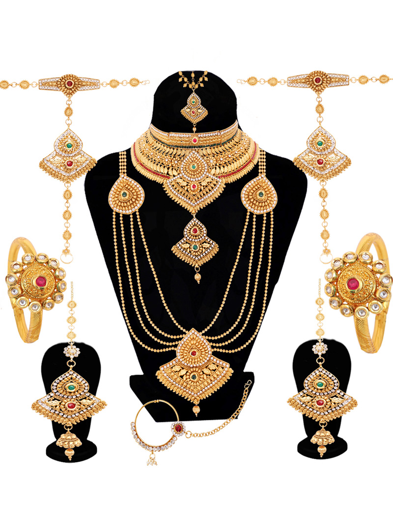 Golden Alloy Austrian Diamond Bridal Set 128607