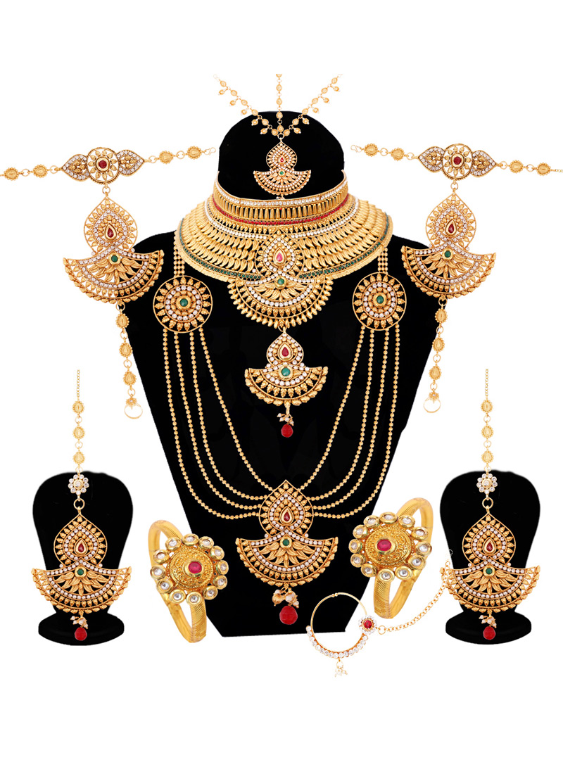 Golden Alloy Austrian Diamond Bridal Set 128610