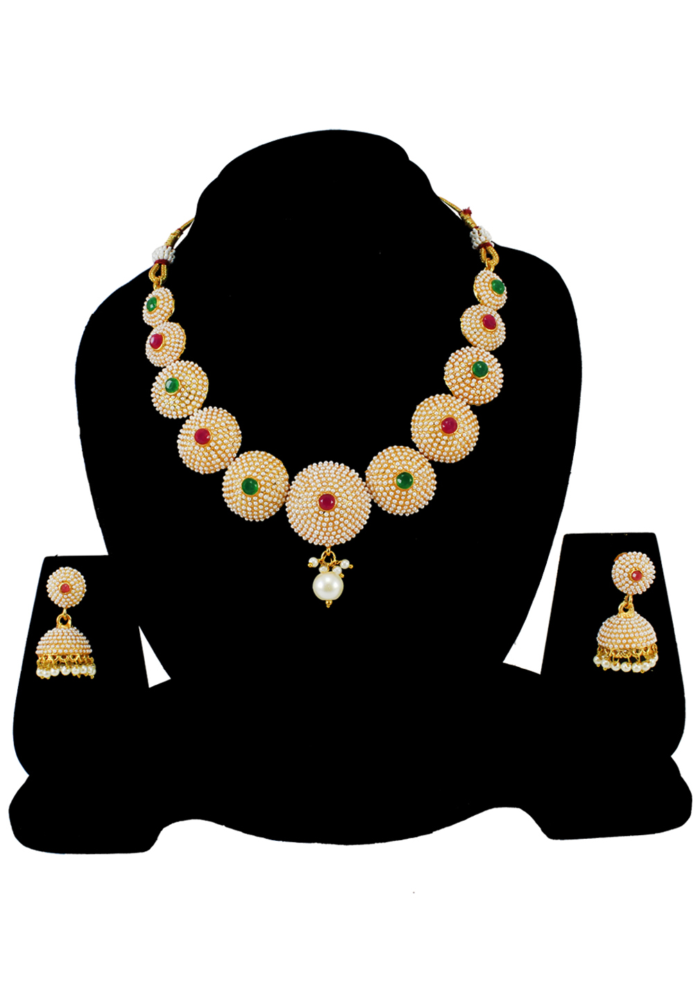 Green Alloy Pearl Beads Necklace Set Earrings 177821
