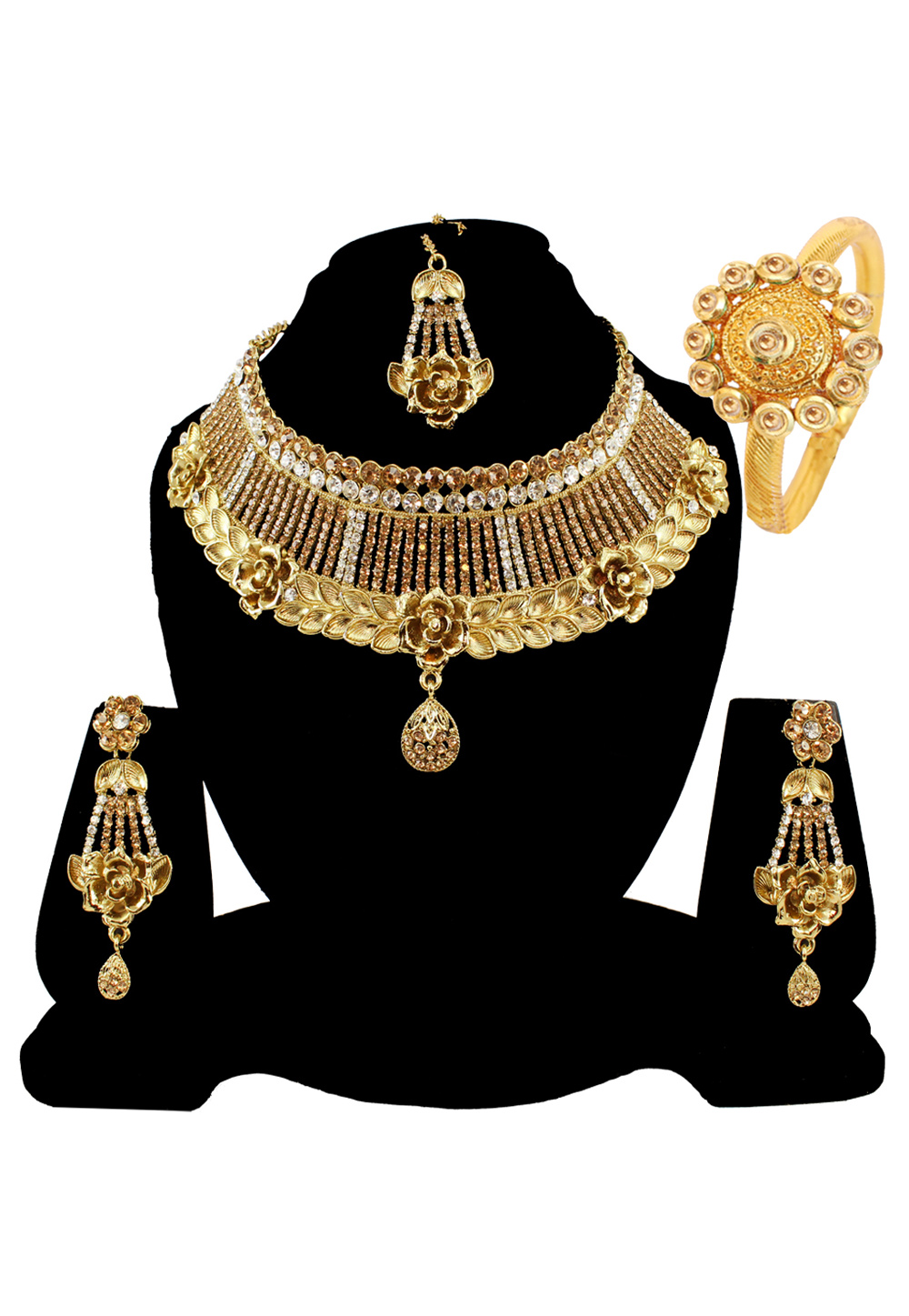 Brown Alloy Austrian Diamond Necklace Set Earrings and Maang Tikka 177823