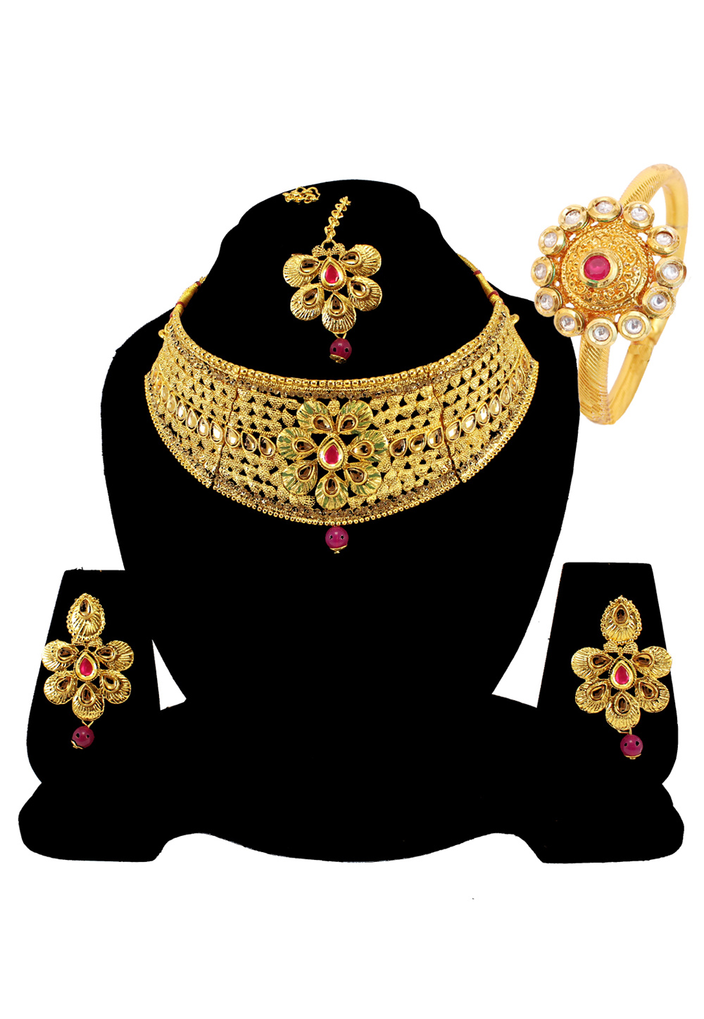 Pink Alloy Austrian Diamond Necklace Set Earrings and Maang Tikka 177827