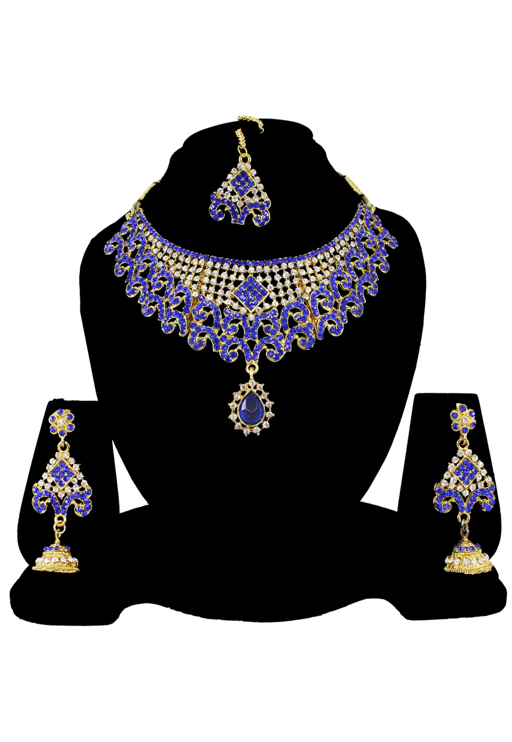 Blue Alloy Austrian Diamond Necklace Set Earrings and Maang Tikka 177834