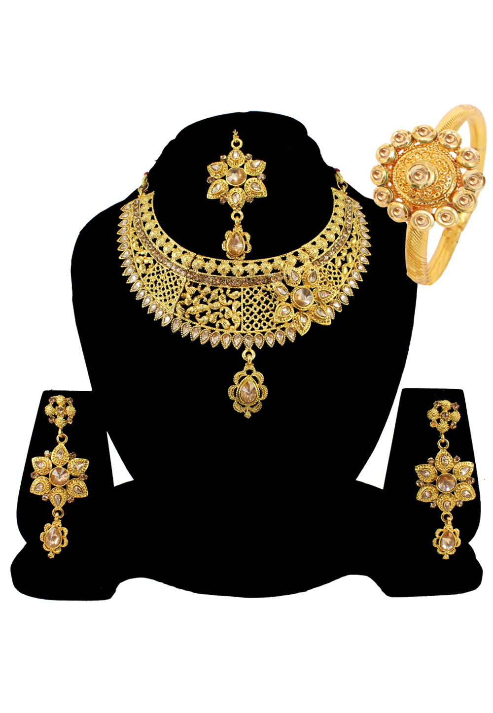 Golden Alloy Austrian Diamond Necklace Set Earrings and Maang Tikka 177836