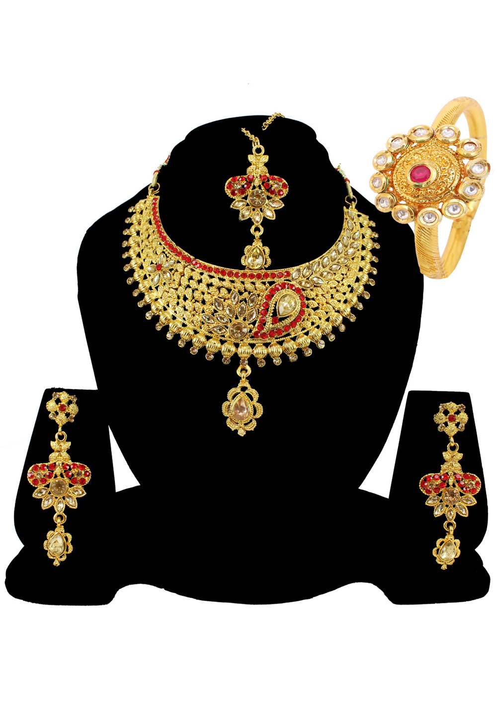 Red Alloy Austrian Diamond Necklace Set Earrings and Maang Tikka 177839
