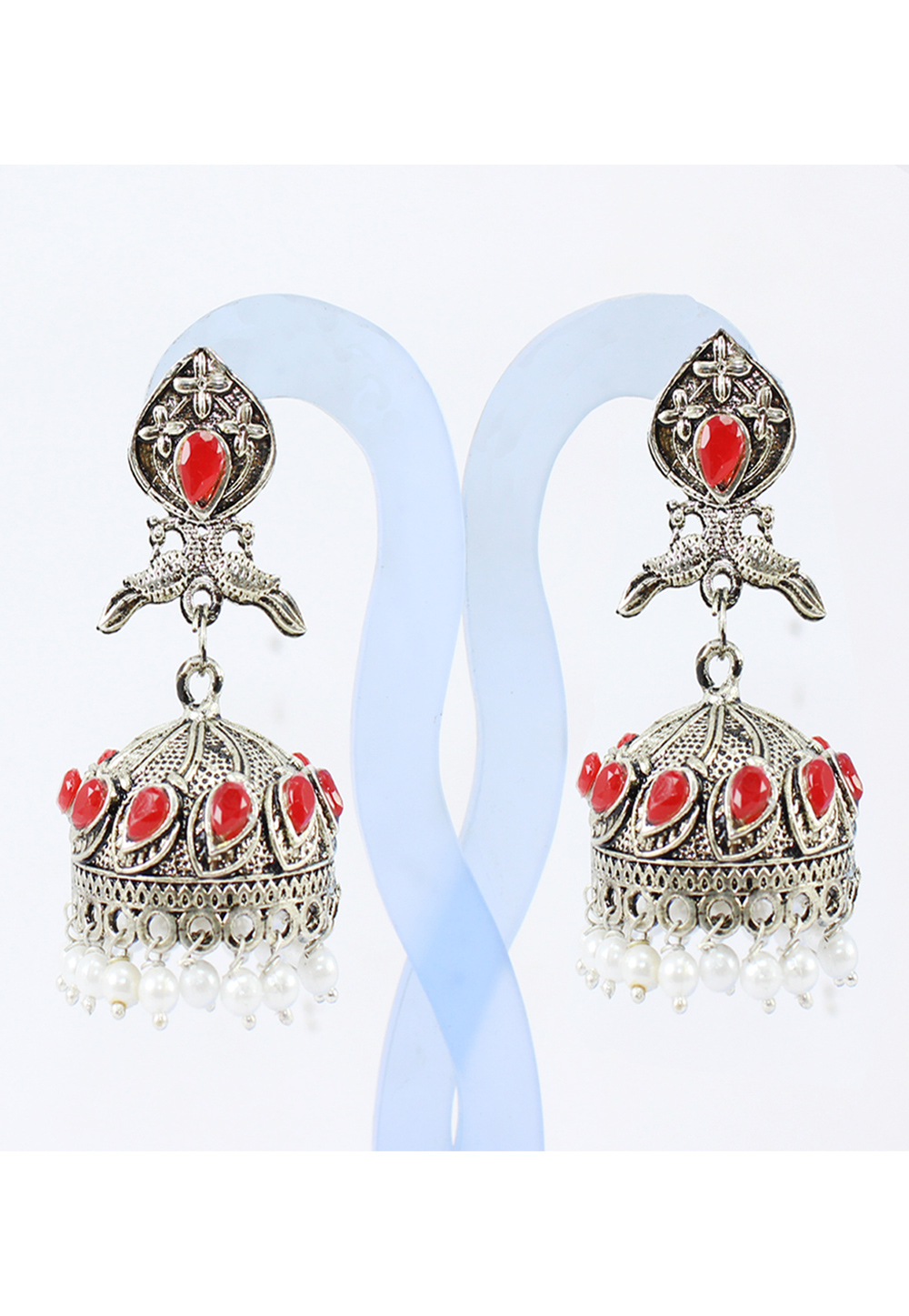 Red Alloy Earrings 177868