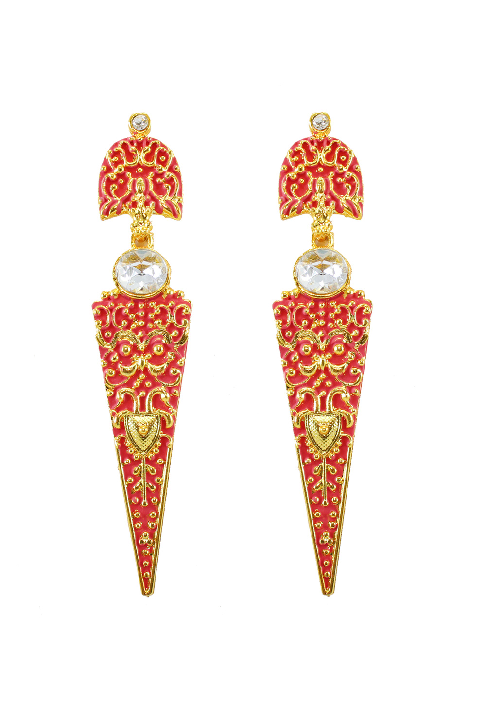Maroon Alloy Austrian Diamond Earrings 177881