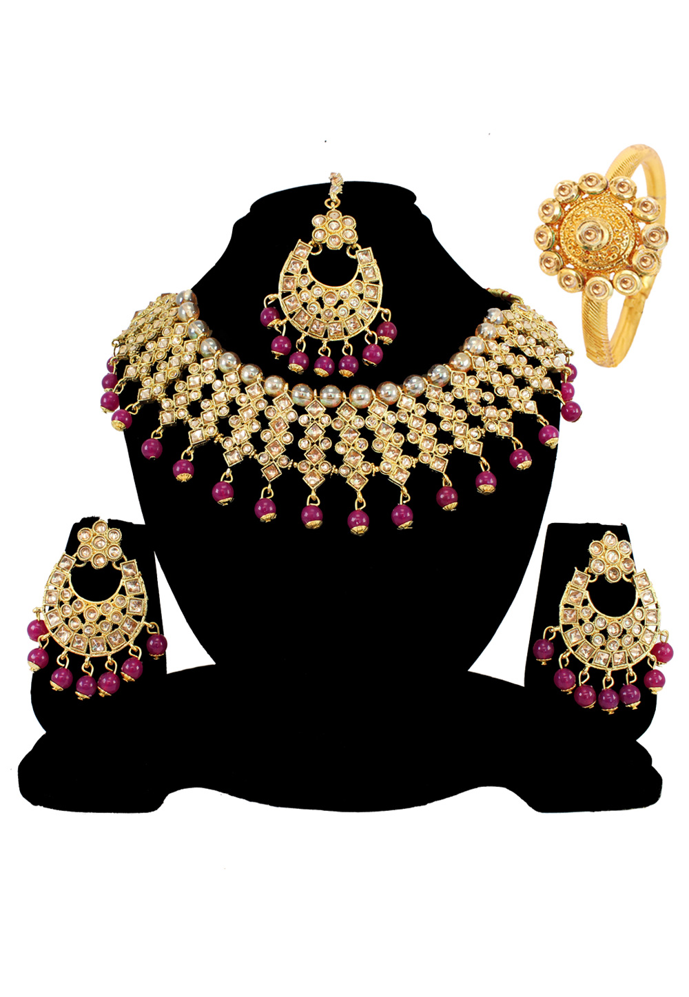 Brown Alloy Austrian Diamond Necklace Set Earrings and Maang Tikka 177887