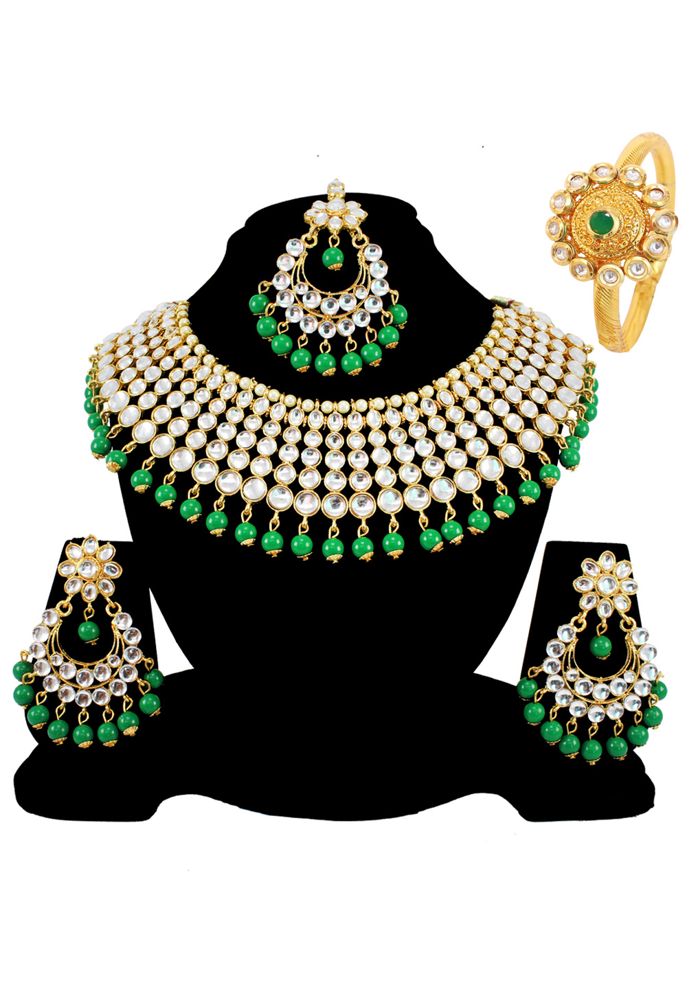 White Alloy Necklace Set Earrings and Maang Tikka 177890