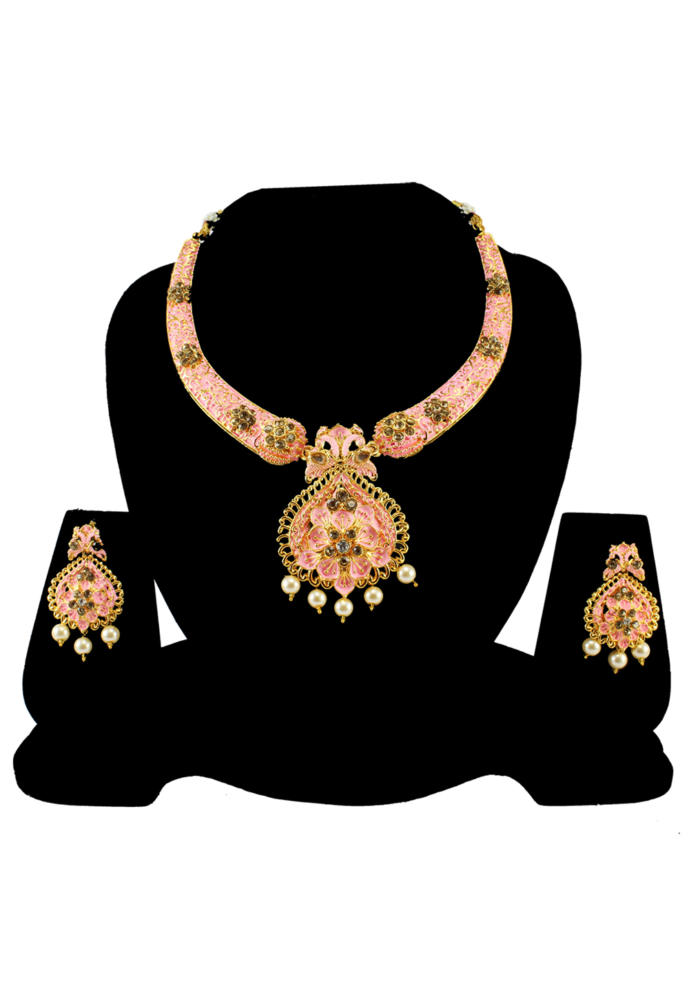 Pink Alloy Austrian Diamond Necklace Set With Earrings 197141
