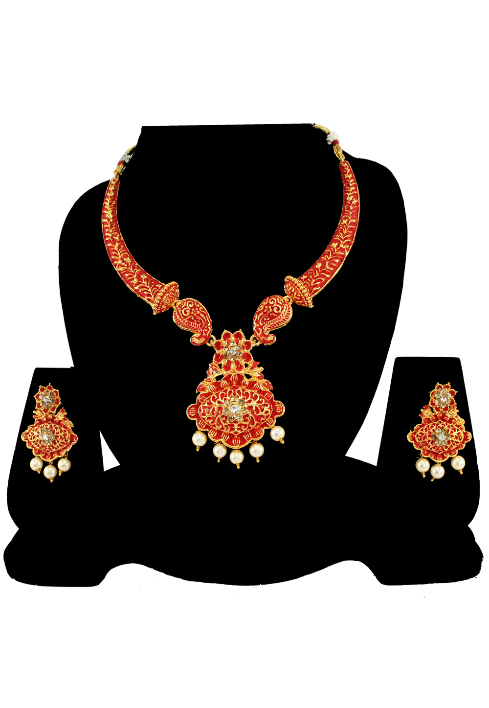 Maroon Alloy Austrian Diamond Necklace Set With Earrings 197142