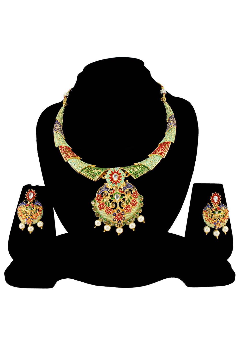 Green Alloy Austrian Diamond Necklace Set With Earrings 197143