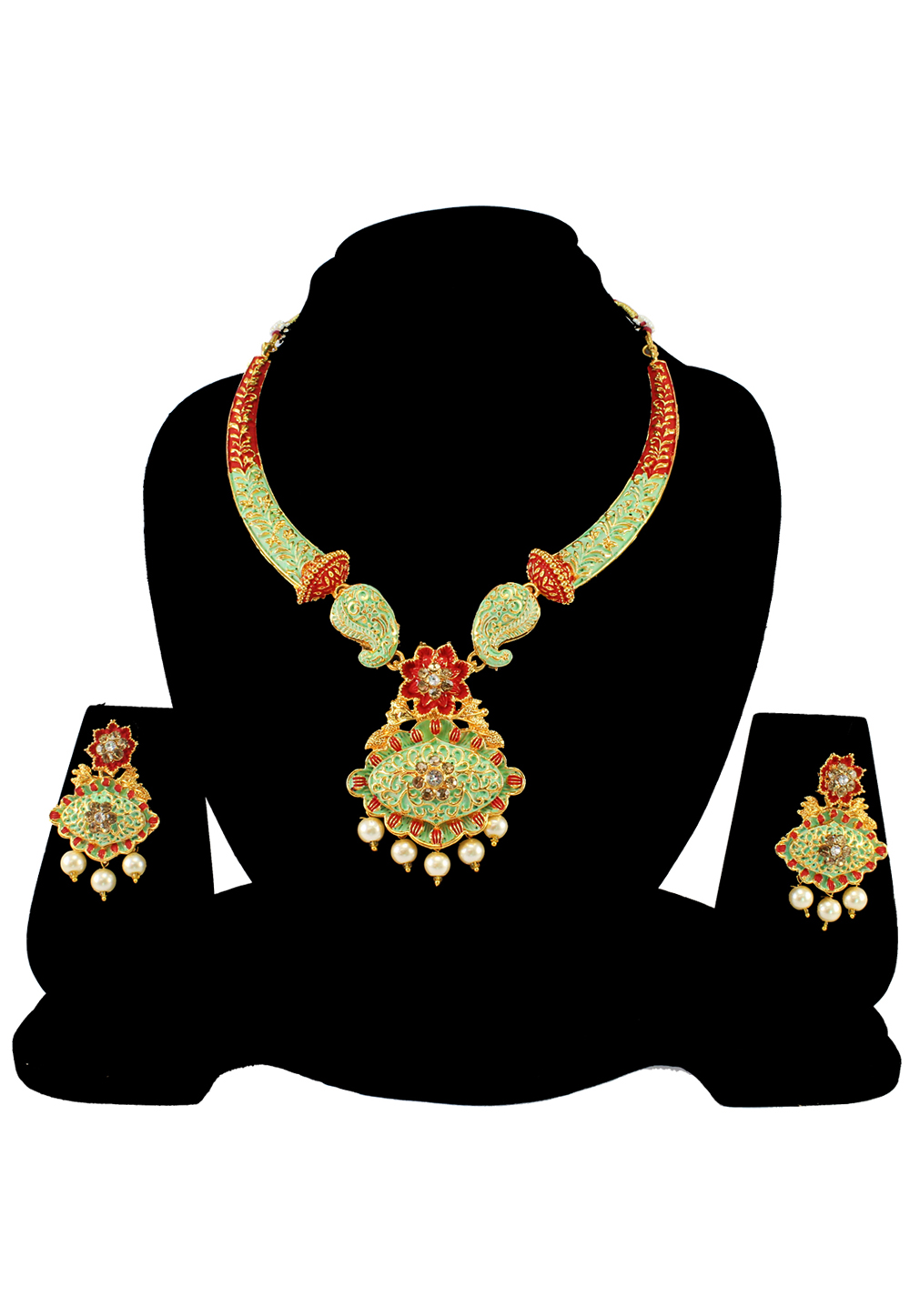 Green Alloy Austrian Diamond Necklace Set With Earrings 197146