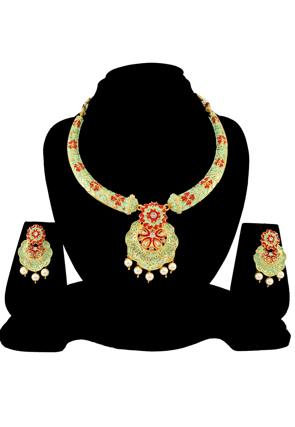 Green Alloy Austrian Diamond Necklace Set With Earrings 197147